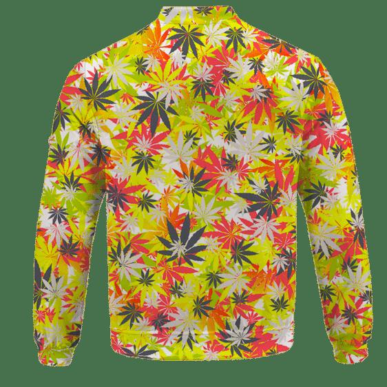 Weed Hemp Marijuana Pattern Colorful All Over Print Bomber Jacket - back