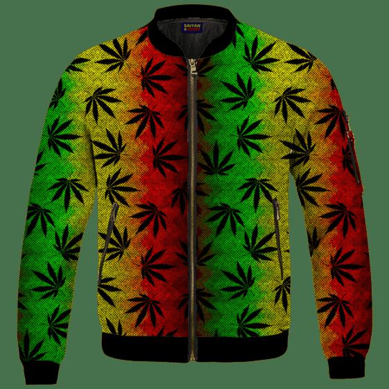 Weed Leaves Marijuana 420 Cool Reggae Pattern Bomber Jacket