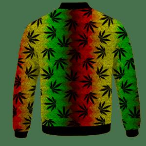 Weed Leaves Marijuana 420 Cool Reggae Pattern Bomber Jacket - BACK