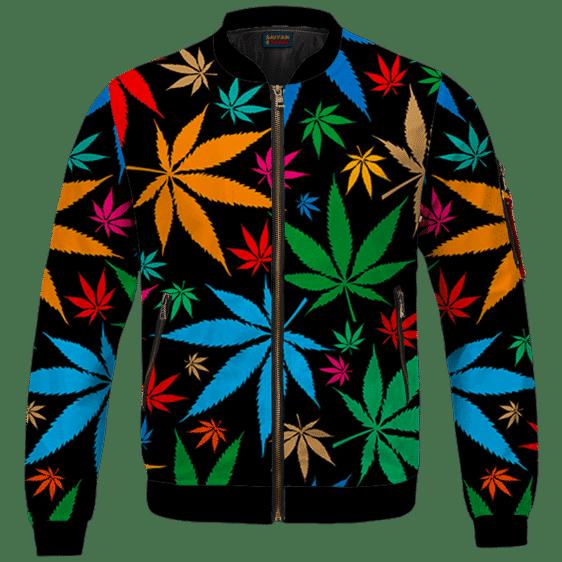 Weed Marijuana Colorful Seamless Pattern Dope Bomber Jacket