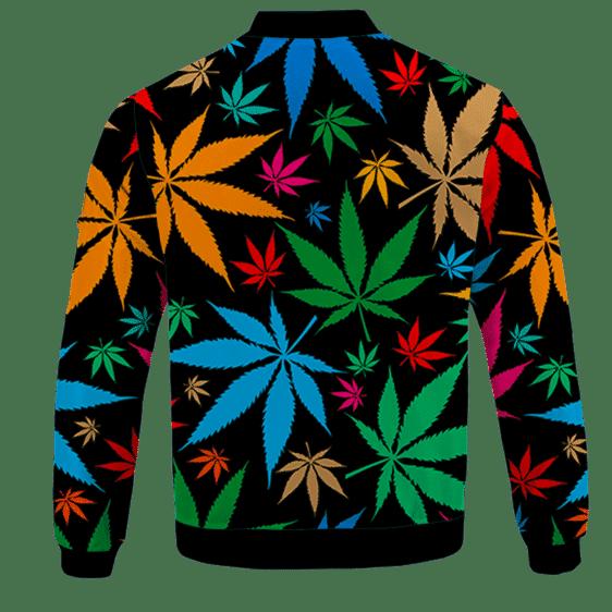 Weed Marijuana Colorful Seamless Pattern Dope Bomber Jacket - BACK