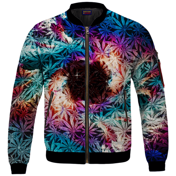 Weed Marijuana Leaves Awesome Colorful Pattern Cool Bomber Jacket