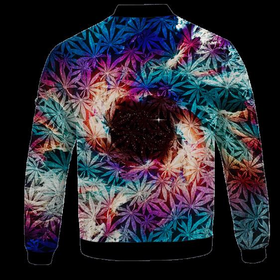 Weed Marijuana Leaves Awesome Colorful Pattern Cool Bomber Jacket - BACK