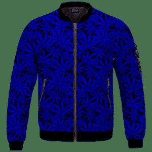 Weed Marijuana Leaves Awesome Navy Blue Pattern Cool Bomber Jacket