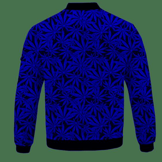 Weed Marijuana Leaves Awesome Navy Blue Pattern Cool Bomber Jacket - BACK