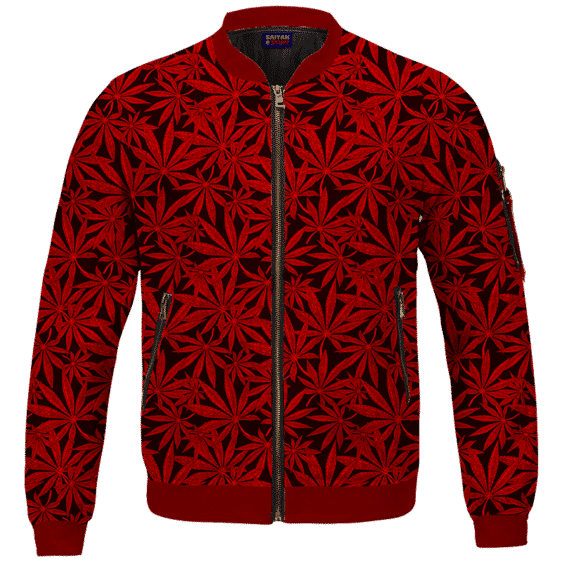 Weed Marijuana Leaves Awesome Red Pattern Cool Bomber Jacket