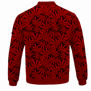 Weed Marijuana Leaves Awesome Red Pattern Cool Bomber Jacket - BACK
