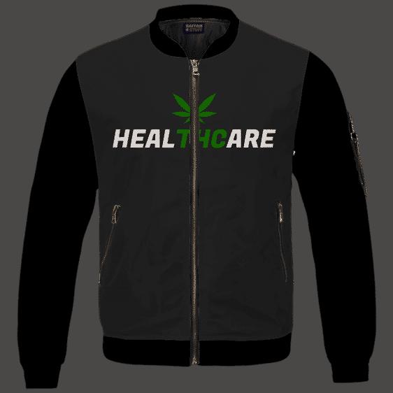 Weed THC Healthcare Dope Vector Marijuana Black Bomber Jacket