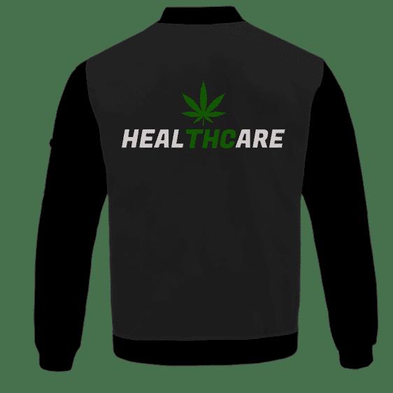 Weed THC Healthcare Dope Vector Marijuana Black Bomber Jacket - BACK