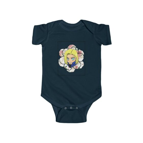 DBZ Cute Chibi Android 18 Floral Background Baby Onesie 24M
