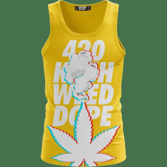 3D Five Fingered 420 Kush Weed Dope Marijuana Yellow Tank Top
