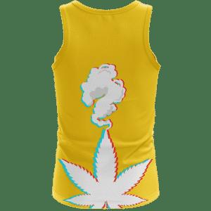 3D Five Fingered 420 Kush Weed Dope Marijuana Yellow Tank Top Back
