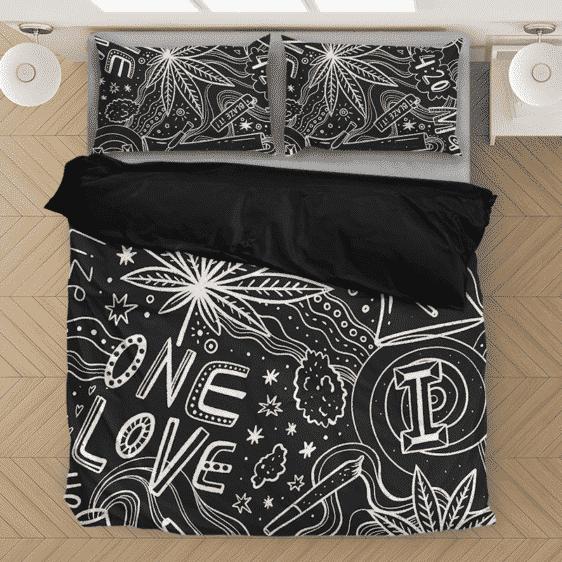 420 Blaze It One Love Marijuana Black & White Bedding Set