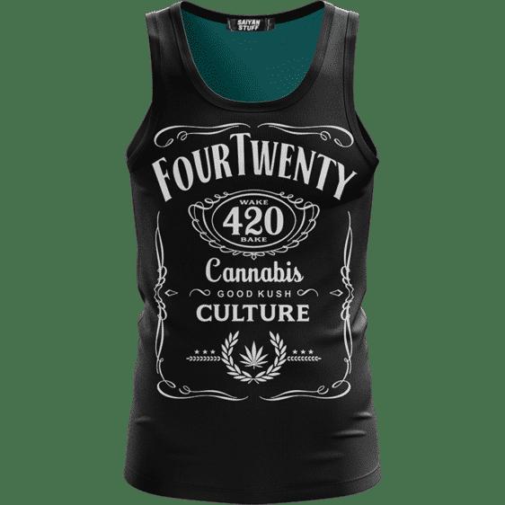 420 Wake And Bake Cannabis Kush Dope Black Simple Tank Top