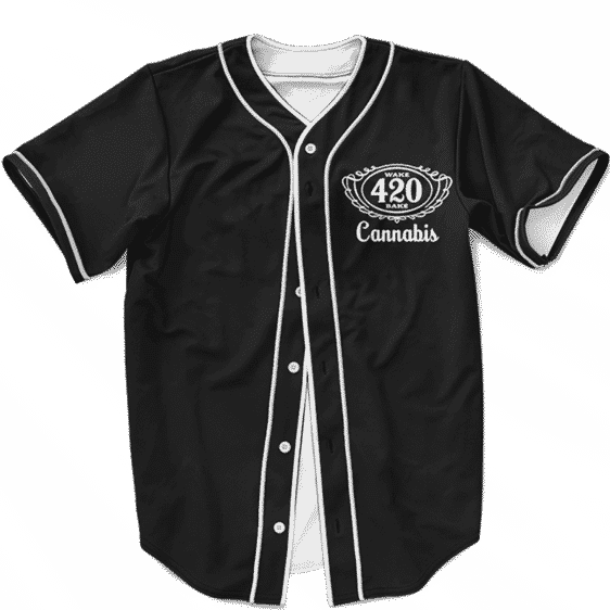 420 Wake And Bake Cannabis Kush Dope Cool Black Baseball Jersey