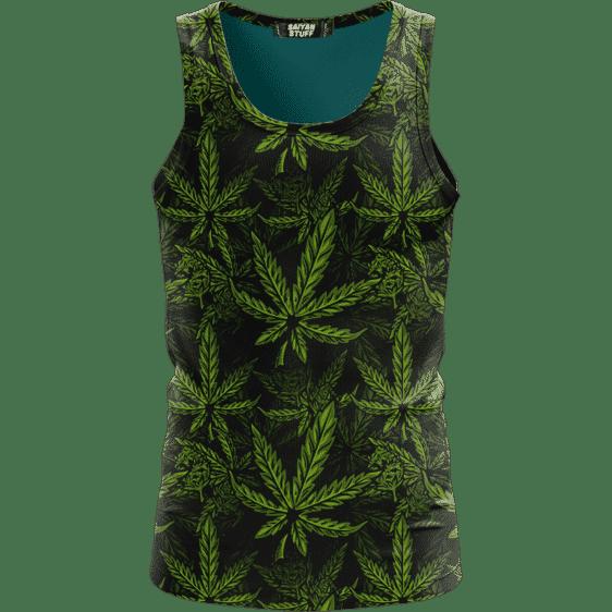 420 Weed Hemp Marijuana Pattern Awesome Dark Green Dope Tank Top