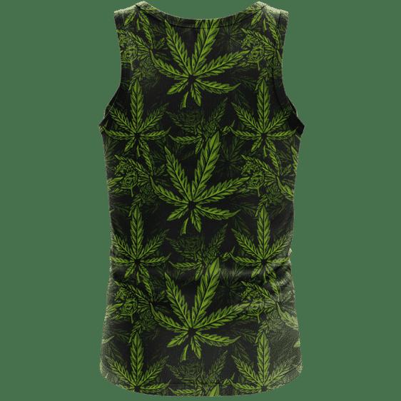 420 Weed Hemp Marijuana Pattern Awesome Dark Green Dope Tank Top - back