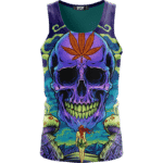 Amazing Skull Vector Art Trippy Weed Green Violet Dope Tank Top