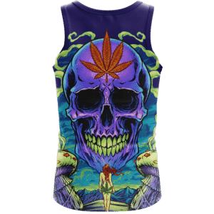 Amazing Skull Vector Art Trippy Weed Green Violet Dope Tank Top - Back