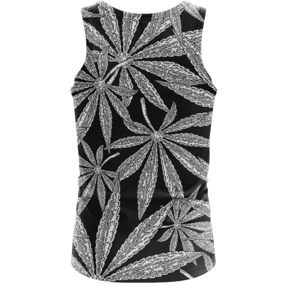 Weed Kush Mary Jane Leaves Black White Elegant Tank Top - back