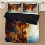 Beautiful Samurai Girl Smoking Galaxy Art Adorable Bedding Set