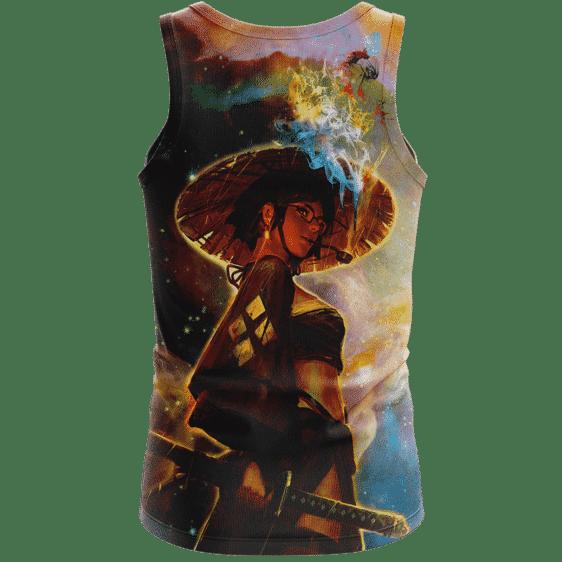 Beautiful Samurai Girl Smoking Galaxy Art Adorable Tank Top - Back