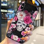 Beautiful Skull In White & Pink Roses Cool iPhone 12 Case