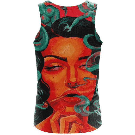 Beautiful Stoned Girl Smoking Joint Paint Art Style Cool Tank Top - Back