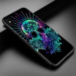 Blue Green & Pink Skull With Glow Effect Dope iPhone 12 Case