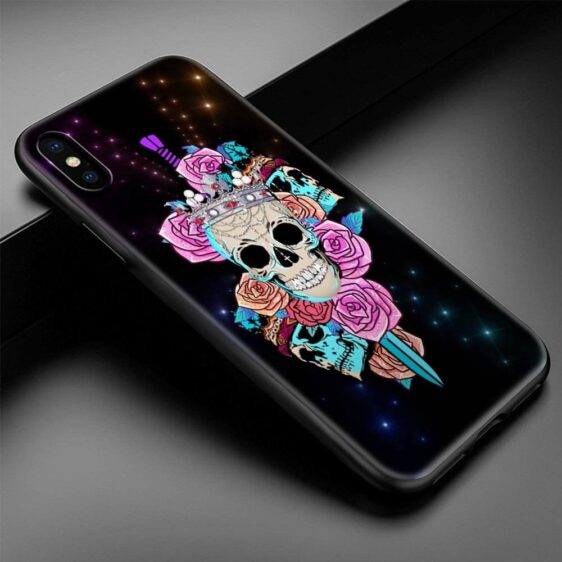 Blue Pink Crowned Skulls Pierced By Sword Cool iPhone 12 Case