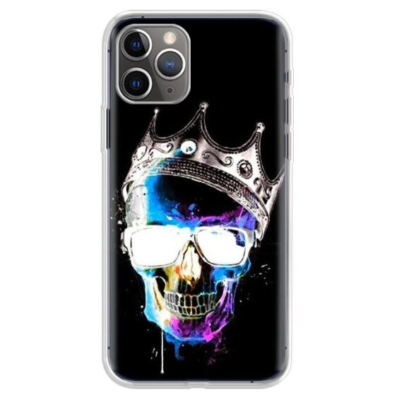 Blue Violet Skull With Crown & Sunglasses Dope iPhone 12 Case