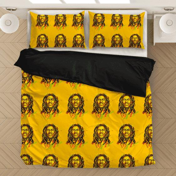 Bob Marley Artistic Painting Orange Seamless Bedding Set
