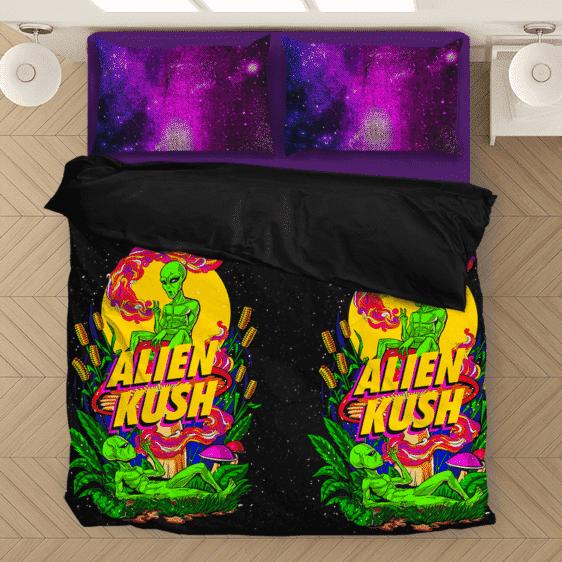 Calming Potent Alien Kush Hybrid Marijuana Weed Bedding Set