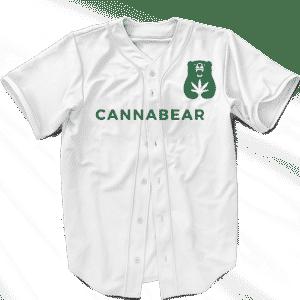 Cannabear Cannabis Weed 420 White Green Minimalist Baseball Jersey