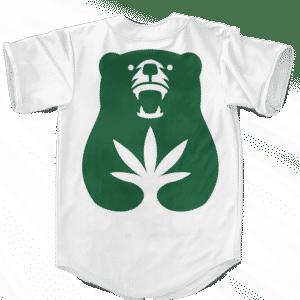 Cannabear Cannabis Weed 420 White Green Minimalist Baseball Jersey - back