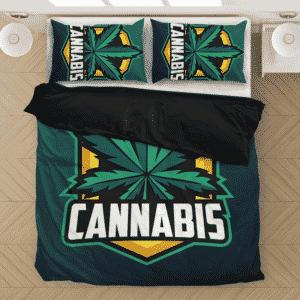 Cannabis Awesome Logo Marijuana 420 Weed Dark Bedding Set
