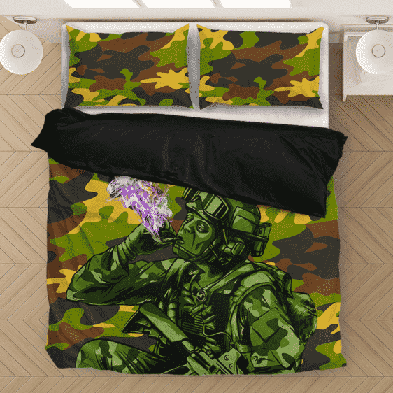 Chilling Out Soldier Smoking Marijuana Cool Awesome Bedding Set