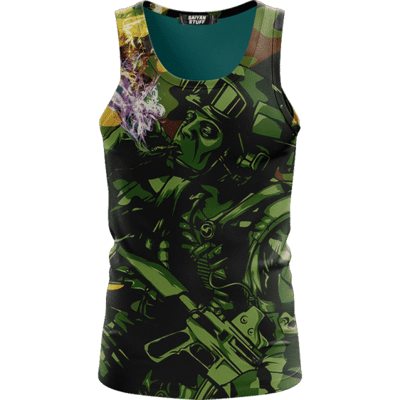 Chilling Out Soldier Smoking Marijuana Cool Awesome Tank Top