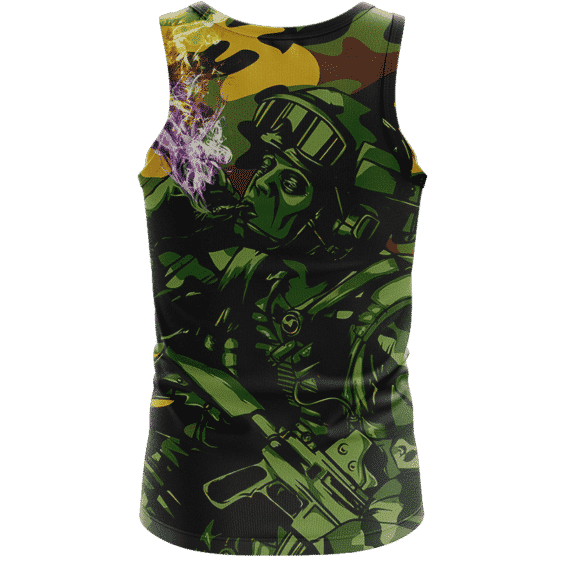 Chilling Out Soldier Smoking Marijuana Cool Awesome Tank Top - Back