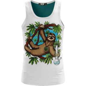 Chilling Out Stoner Sloth Holding Bong 420 White Tank Top