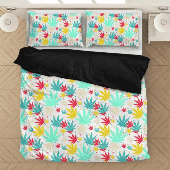 Colorful Marijuana Weed Pattern Bubbly Awesome Bedding Set