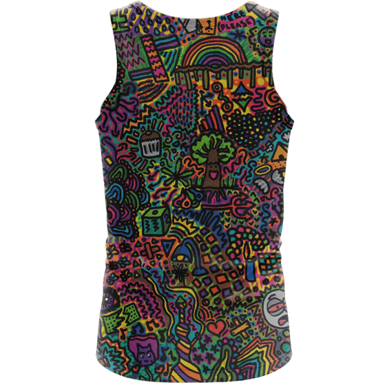 Colorful Psychadelic Marijuana Artwork 420 Weed Awesome Tank Top - back