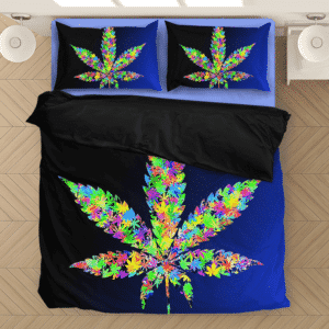 Colorful Weed Leaf Marijuana Hemp Dark Blue Cool Bedding Set