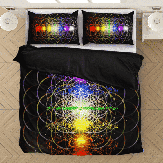 Complete Chakra Trippy Shapes Dark Awesome Bedding Set