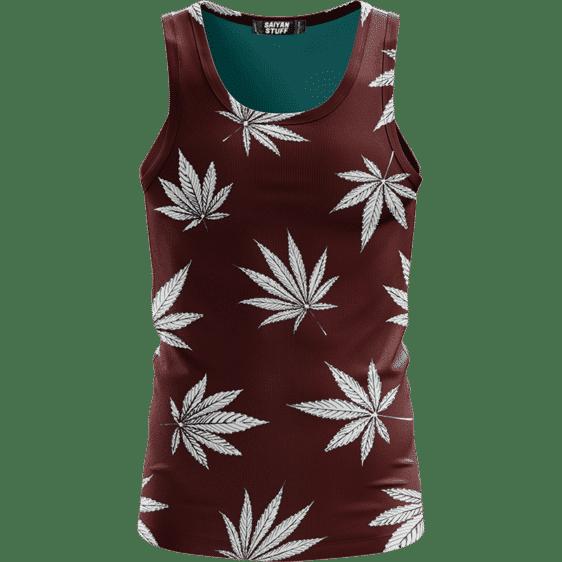 Cool Marijuana Leaves On Print Dark Red Awesome Tank Top