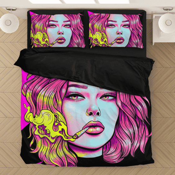Cute Girl Smoking Joint Vector Art Pink Black Bedding Set
