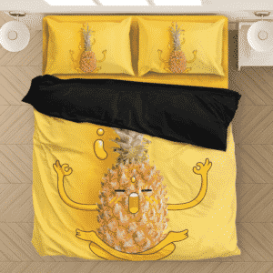 Cute Meditating Pineapple Yoga Chanting OM Yellow Bedding Set