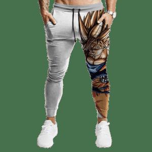 DBZ Goku Super Saiyan 2 HD Artwork Simple White Jogger Pants