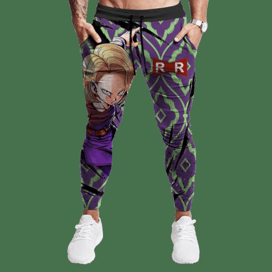 Dragon Ball Android 18 Violet Green Pattern Cool Jogger Pants