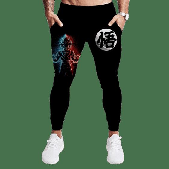 DBZ Goku's Kanji Blue Red Dope Art All Black Jogger Pants